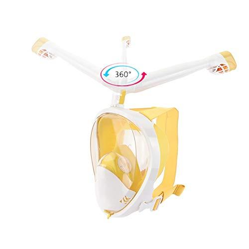 ZzheHou Tauchermaske Schnorchelmaske Einfache Atem 360 Grad drehbar Schnorchel for Erwachsene Kinder Leicht atmende Schnorchel-Gesichtsmaske (Color : Yellow, Size : L/XL)
