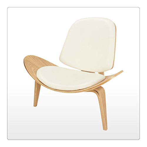 FTW Dreibeiniger Muschelstuhl Eschen Sperrholz Weißes Kunstleder Wohnzimmermöbel Moderner Lounge Muschelstuhl (Color : C1)