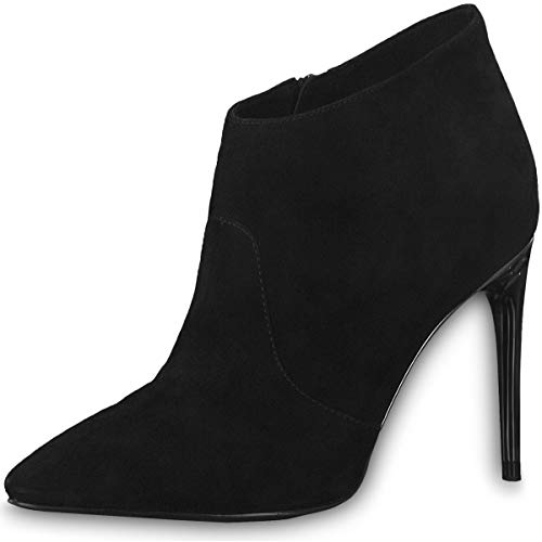 Tamaris Trend 1-25392-23 001 Damen Stiefelette High Heeled Ankle Boot Leder Black Schwarz mit Touch-IT Sohle, Groesse:35