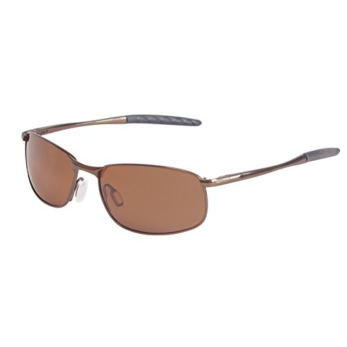 Polarized Sunglasses for Men, Anti Reflective Coating Lens Wrap Metal Frame for Fishing Sporting Driving with Sunglasses Case (Brown frame Brown lens with AR coating, 57)