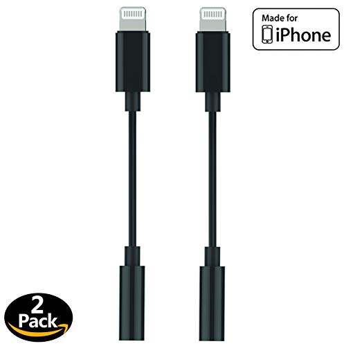 [Apple MFi Certified] Apple Lightning to 3.5 mm Headphone Jack Adapter Cord Dongle Aux Cable Earphones/Headphone Converter Accessories Compatible with iPhone 11/Xs/XR/X/8,7/8,7 Plus/ipad-IOS13-2 Pack