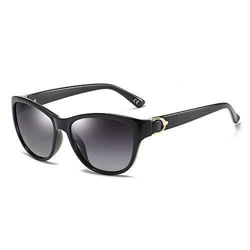 BLEVET Gafas de Sol De Moda Polarizadas Para Mujer Protección UV400 BX007 (Black Frame Gradient Grey Lens)