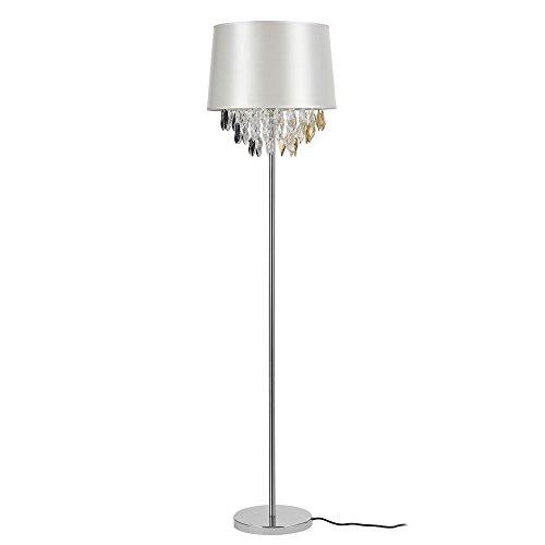 [lux.pro] Lampada da terra lampada a stelo (1 x base E27)(165xØ40 cm) base cromata + paralume di stoffa argento con cristalli lampada salotto lampada a stelo