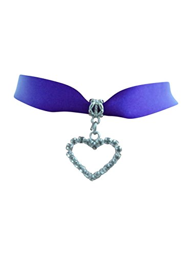 dunns-jewels Purple Double Faced Satin 16mm Wide Choker with a Rhine-Stone Heart