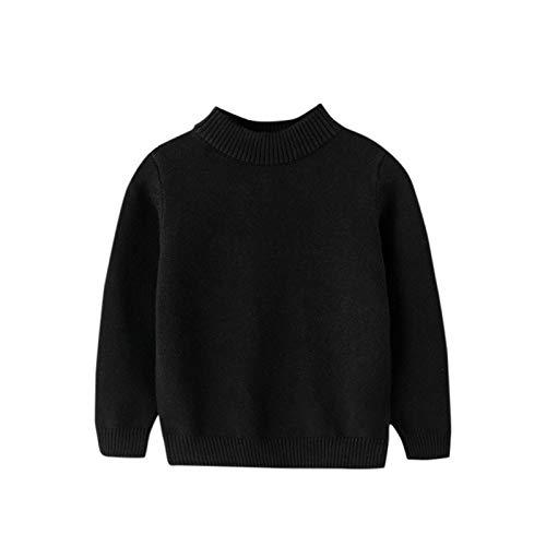 Pistazie - Jersey de punto para niño con cuello redondo y forro grueso y cómodo, cálido, otoño e invierno, para nacimiento, bebé, niña, niño Negro XXL