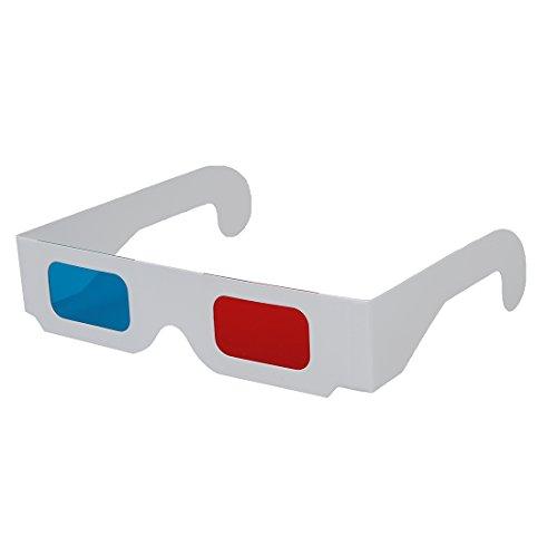 Kaxofang 10 Pares de Gafas 3D de Carton Rojo/Cian
