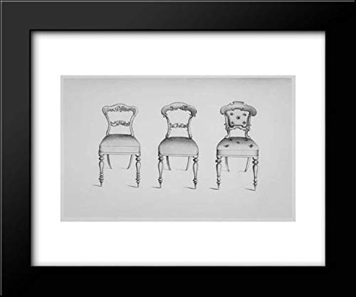 Thomas King - John Weale - 24x20 Framed Art by Museum Prints Titled: Specimens of Furniture in The Elizabethan & Louis Quatorze Styles. Adapted for Modern Imitation