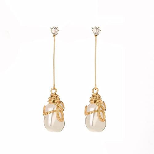 Xuebai Pendientes Colgantes de Oro con Perlas barrocas Blancas Naturales de los Mares del Sur enormes Clips para Pendientes de par Diario/Fiesta/Trabajo Blanco