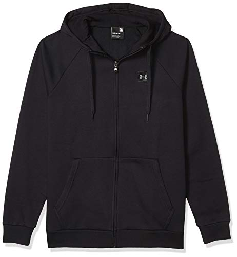 Under Armour Rival Fleece Fz Hoodie, Breathable Sweater Jacket for Men, Comfortable Loose-Fit Knitted Jacket Men, Black (Black/Black (001)), XX-Large