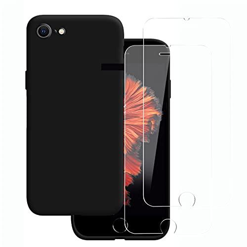 """NEW'C Cover per iPhone 6 e iPhone 6s (4.7"""") in silicone ultra sottile nero e 2× vetro temperato per iPhone 6 e iPhone 6s (4.7""""), pellicola protettiva per schermo"""