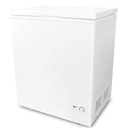 5.0 Cubic Feet Chest Freezer with Removable Basket, from 6.8℉ to -4℉ Free Standing Compact Fridge Freezer for Home/Kitchen/Office/Bar (WHITE)…