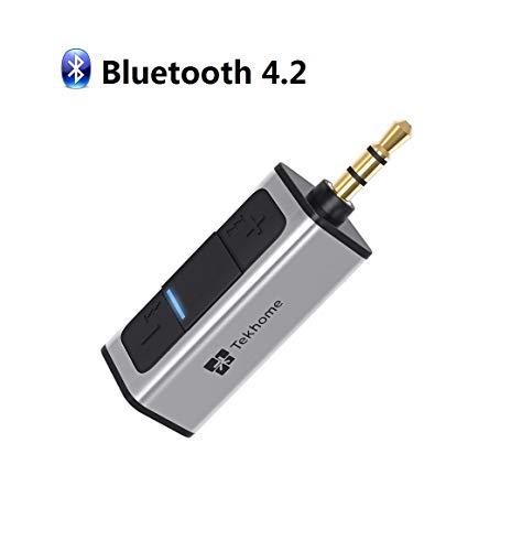 4.2 Bluetooth Empfänger Aux, TekHome Bluetooth Adapter Auto, Bluetooth Adapter Audio für Kfz Auto Kopfhörer Lautsprechersystem Stereoanlage, Bloototh Adapter Autoradio, 3.5mm Aux-in, Silber.