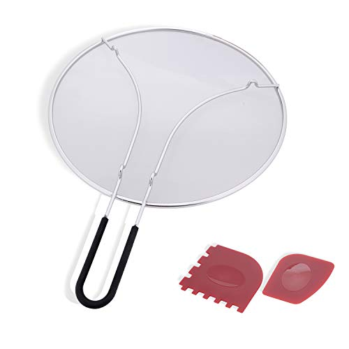 BFVV Splatter Screen Set 13-Inch Stainless Steel Grease Guard, Grill and Cooking Pan Scrapers Oil Shield Frying Pans, Pots, and Skillets