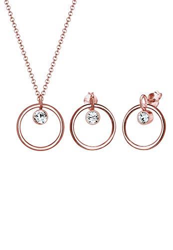 Elli Schmuckset Damen Halskette+Ohrringe Kreis Geo mit Swarovski® Kristalle in 925 Sterling Silber