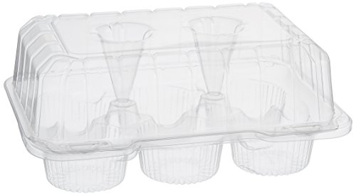 Oasis Supply PJP LBH-6656-12A 6-Compartment Cupcake Containers with Hinged Lid...
