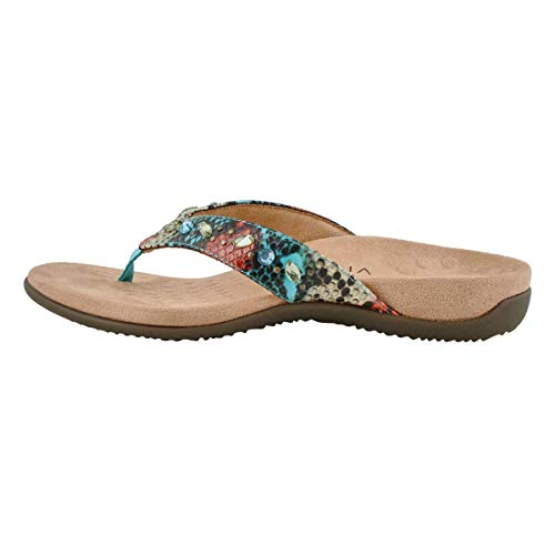 Vionic Women's Rest Lucia Flip-Flop - Rhinestone Toe-Post Sandals with Concealed Orthotic Arch Support Blue Teal Snake Metallic 8.5 Medium US
