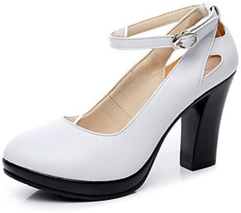 LvYuan-GGX Damen High Heels Formale Schuhe Kunstleder Frühling Herbst Normal Formale Schuhe Blockabsatz Weiß Schwarz 12 cm  Mehr, Weiß, us8.5   eu39   uk6.5   cn40