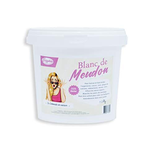 VOZYDEO Blanc de Meudon Carbonate de Calcium - Seau de 1,5Kg - Produit dEntretien Multi-usages - Nettoie et fait briller - Ideal Argenterie Vitres et Miroirs - Origine Naturelle - Qualité Premium