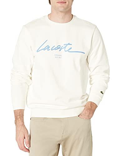 Lacoste Men's Long Sleeve Script Crewneck Sweatshirt, Flour, XL