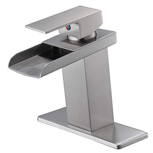 BWE Brushed Nickel Waterfall Bathroom Sink faucet Lavatory Single Handle Commercial
