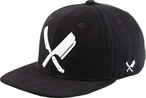 Distorted People Barber & Butcher Logo Blades Suede Black White Snapback Cap Basecap OSFA One Size