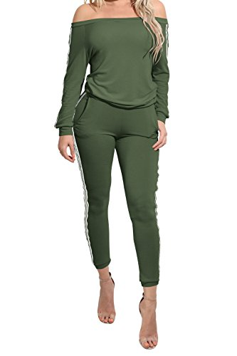 TrinhGuo Womens Off Shoulder 2 Piece Sweatsuit Set Outfits Tracksuit Army Green M