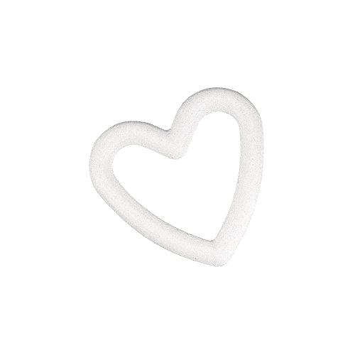 Rayher 3325400 Styropor-Herz, voll, 20 cm, weiß, offenes Styroporherz, Styroporform Herz durchbrochen, Styroporform Hochzeit, Schaumherzen Hochzeit