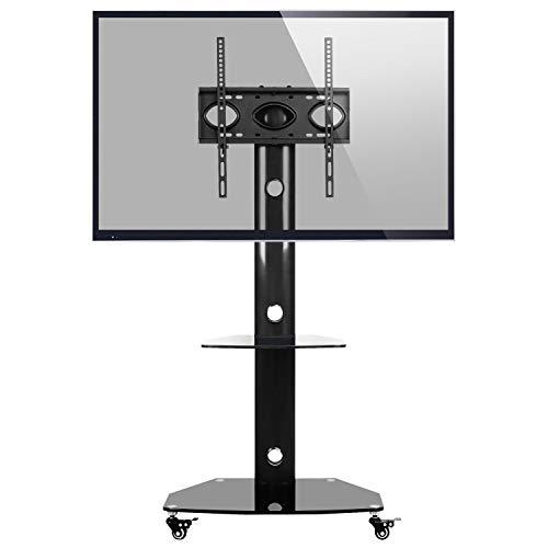 RFIVER Carrello TV da Pavimento Rolling Mobile Porta TV Supporto con Ruote Universale Girevole e Ripiano in Vetro per LED LCD Plasma Curvo Piatto 68,6-139,7 cm 27-55 pollici Nero TF9001
