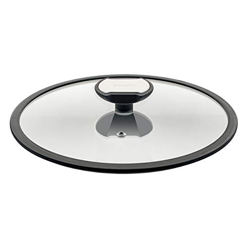 Glasdeckel mit Silikonrand 24 cm passend für Kochgeschirr der Balance-Serie 007824 l ideal zum Sichtkochen l geeignet für jeden Topf oder Pfanne mit 24 cm Durchmesser