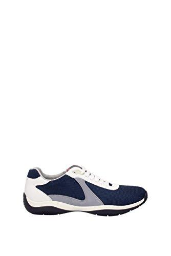 PRADA sneaker scarpe lace up da uomo rete plume 4e3075 blu tessuto e pelle 40 eu - 6 uk