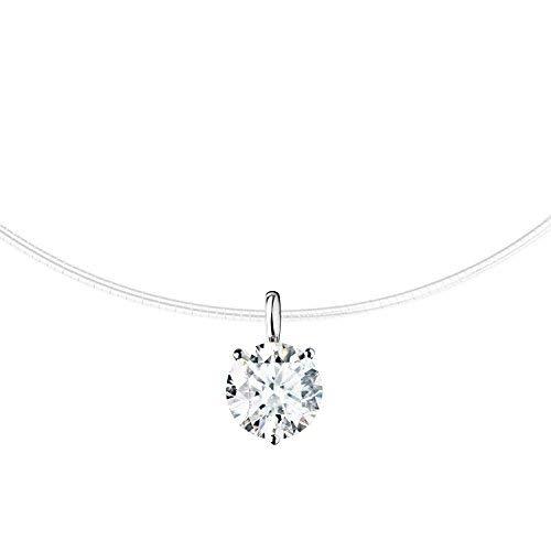 MYA art Damen Halskette Collier Kette Halsband Nylon Nylonband mit einem weißem Stein Steinchen Anhänger Brautschmuck Silber Vergoldet MYAWGKET-46