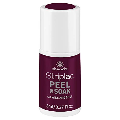 alessandro Striplac Peel or Soak Wine and Soul – LED-Nagellack in dunklem Rot-Lila – Für...