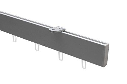 Garduna 300cm ALU - Gardinenschiene - zur Deckenmontage - Vorhangschiene, Aluminium, Silber, inkl. Laufrollen (Hochkantprofil)