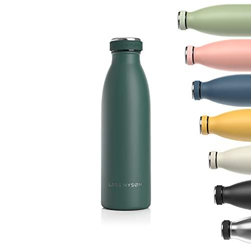LARS NYSØM Trinkflasche Edelstahl 500ml | BPA-freie Isolierflasche 0.5 Liter | Auslaufsichere Wasserflasche für Sport, Fahrrad, Hund, Baby, Kinder