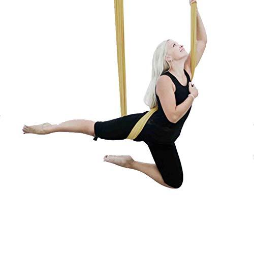 LYNNDRE Yoga Swing Aérea, Tela Acrobática De La Yoga De La Hamaca, Antigravity Swing Set Yoga con Correas Y Mosquetones, Pilates Yoga Vuelo Aéreo Hamaca para Los Ejercicios Yoga,Amarillo