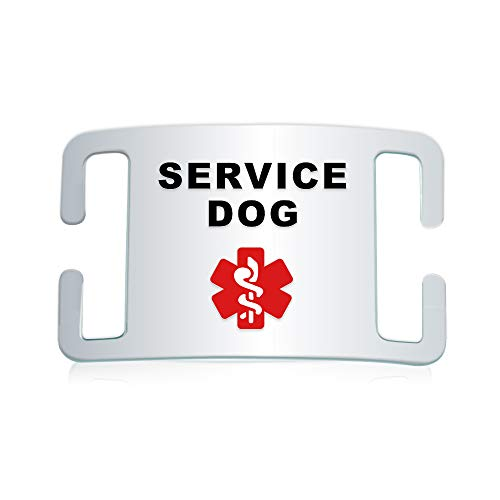 Service Dog ID Tag- Fits on Dog Collar, Harness or Vest Strap– Quiet and Silent Stainless-Steel Medical Service Dog Tag with Enamel– 3 Sizes for Small, Medium or Large Dogs (Small- 5/8 Inch Collars)