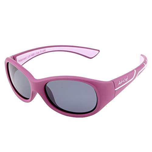 Kids @School Lunettes de soleil sportives pour enfants | Fille et Garçon | Protection 100% UV 400 | polarisées | indestructibles en caoutchouc souple | 5-10ans | seulement 22 grammes (Violet / Rose)