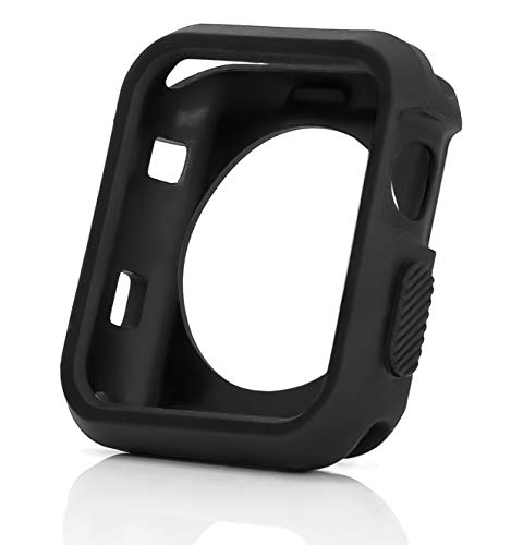 MyGadget Custodia Protettiva Flessibile per Apple iWatch 42mm Serie 1 2 3 - Shell Cover Morbida in TPU Skin Case Bumper AntiGraffio e Paraurti - Nero