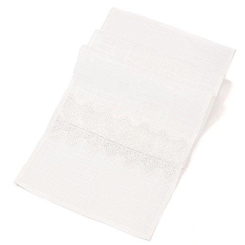 Chemin de table Crochet, tissu mat en blanc façon lin grossier, motifs crochet, 100% polyester
