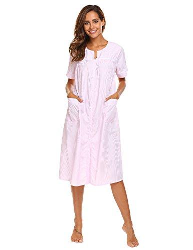 Ekouaer Women's Button Front Lounger House Dress Short Sleeve Duster Robe (Pink,XL)