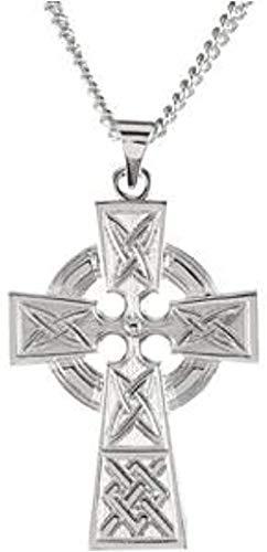 LKLFC Collar Colgante Collar de Cadena Mujer Hombre Collar Collar de Cruz Celta en Plata de Ley con halo 24 Regalo