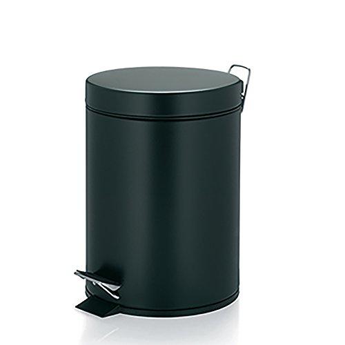kela 10931 Kilian - Papelera de baño (12 L, Metal, con Cierre silencioso), Color Negro