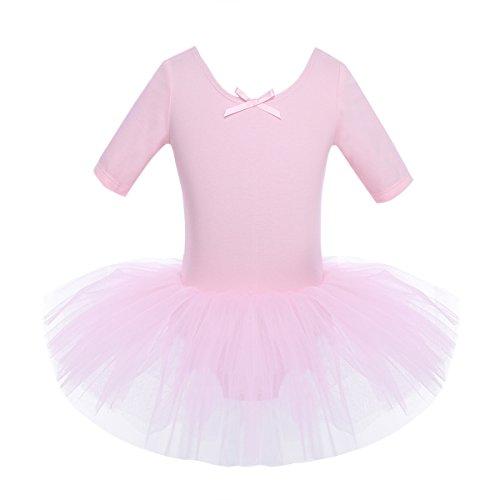 iEFiEL Mädchen Ballettkleid, Kinder Ballettanzug Tütü Ballett Trikot Turnanzug Kurzarm Ballettkleid mit Röckchen Rosa 110-116