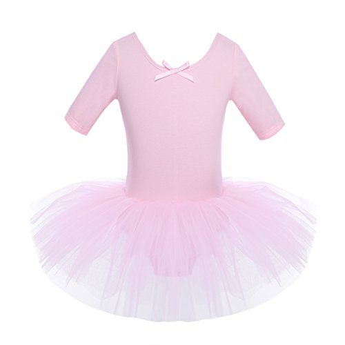 iEFiEL Mädchen Ballettkleid, Kinder Ballettanzug Tütü Ballett Trikot Turnanzug Kurzarm Ballettkleid mit Röckchen Rosa 122-128