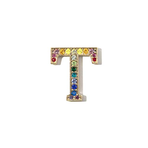 Sonix Crystal Embellished Metal Alphabet Letter Sticker - Rainbow (T)