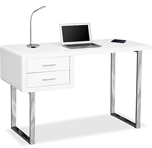 Centurion Supports Harmonia Gloss White with Chrome legs 2-Drawer Contemporary Home Office Computer Desk with Built-In Wireless Qi Charging