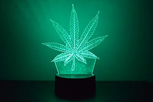 Lámpara de ilusión LED de hoja de cannabis 3D, luz nocturna al lado de la mesa, colores cambiantes automáticos del interruptor táctil decoración del escritorio control remoto