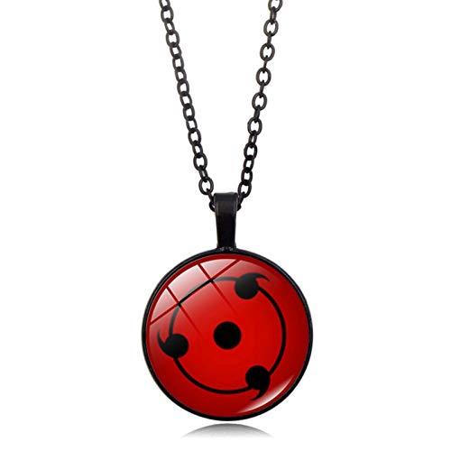 Saicowordist Naruto Collar Sharingan Print Cristal Colgante Aleación Cadena Collar Anime Cosplay Accesorios (Estilo 01)