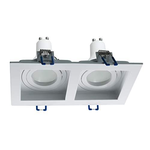 Faretto da incasso rettangolare doppia lampada LED GU10 16W luci soffitto 230V