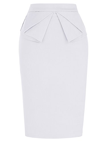 GRACE KARIN Women's Stretchy Office Pencil Skirt Bodycon Midi Skirt White XL